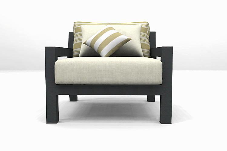 Altesano fotelja za hotele Bold. Siva konstrukcija aluminija i bige jastuci, spužvom za vrtni namještaj i mekanim naslonkim jastukom krem boje.