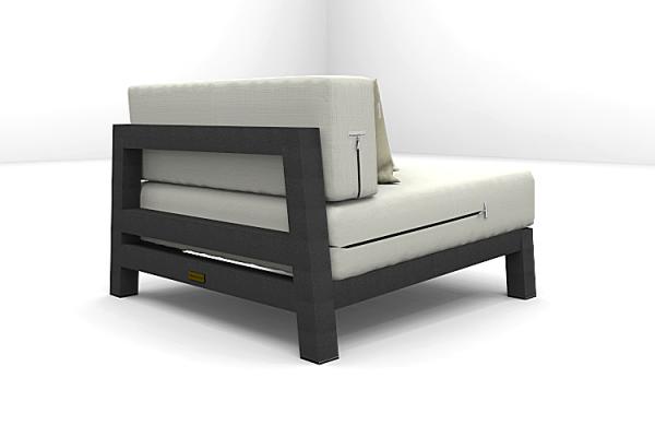 Altesano Edge Fotelja za hotele - vrtni namjestaj od aluminija, tamno sive konstrukcije, sjedećih jastuka beige boje, te naslonskih jastuka sa patentnim zatvaračem